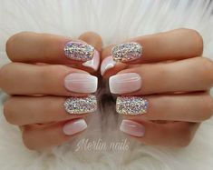 Try some of these designs and give your nails a quick makeover, gallery of unique nail art designs for any season. The best images and creative ideas for your nails. Nail Design Glitter, Glitter Gel Nails, Sparkly Nails, Nails Design, Pink Glitter, Glitter Wedding Nails, Gel Ombre Nails, Matte Gel Nails, Pastel Nails