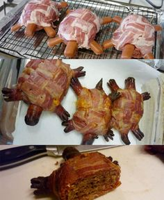 this is hilarious! ...Bacon Turtles made of burger and hot dogs and wrapped in bacon.