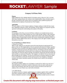 Printable Sample Cell Phone Policy Form