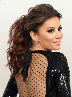 Adding some texture to a basic ponytail gives it a dressier style, like Eva Longoria's look. #hair