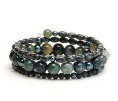 Sleek Layered Gemstone Memory Wire Bracelet - Deep Lichen Green Natural Stone Bracelet - Moss Agate Rainforest Jade - Dark Green Bracelet