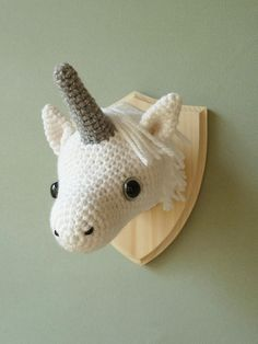 Crochet mounted unicorn head faux taxidermy by CreepyandCute