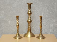 Trio Tall Solid Brass Ornate Candle Holders