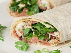 Egg-White-and-Turkey Bacon Wrap with Herbs and Arugula     |     Organize your favourite recipes on your iPhone or iPad with @RecipeTin! Find out more here: www.recipetinapp.com      #recipes #breakfast #brunch