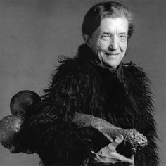 """Louise Bourgeois French-American, artist and her sculpture """"Fillette"""", Photo by RoBert Mapplethorpe. The intention of the photo shoot was to produce a portrait for her exhibition at MOMA. Robert Mapplethorpe, Louise Bourgeois Art, Hans Ulrich Obrist, Tv Movie, Diane Arbus, American Artists, Art History, Famous People, Contemporary Art"""