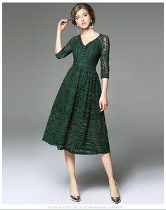 autumn new fashion V-neck seven sleeves slim lace dress