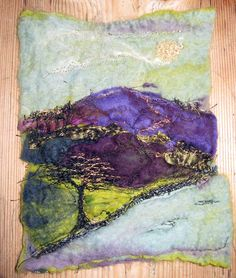 Cumbrian Heather, felted merino wool with embroidered detail (�70 framed)