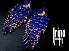 Beautiful beaded modern dark blue with gold moon earrings with fringe. Very lightweight. Original design. Materials: Silver plated ear hooks Czech glass beads Nylon Thread Patience and Creativity!:) .. ready to be given away ! Contact me if you have any questions. I will be happy to answer :)