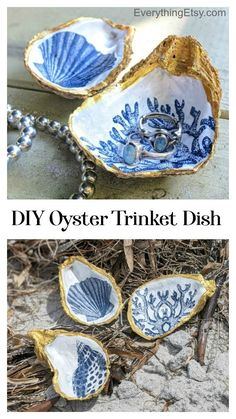 Love the beach?  Love oysters?  This oyster shell trinket dish tutorial is perfect for your next project.  It's such a satisfying DIY gift because they end up looking oh-so-fabulous while spending pennies for each one.  That works for me! So, this all started with a family seafood fest at Aunt Pam's that included everything you…   [read more] Handmade Gifts For Her, Diy Gifts, Gloss Spray Paint, Easy Crafts, Diy And Crafts, Mod Podge Matte, Decorative Napkins, Whole Image, Decoupage Tutorial