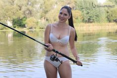 Out model girl Victoria fishing