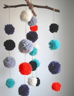 Branch pompom mobile- 6 color yarn pompom mobile, nursery decor, wall decor,room decor, kids room