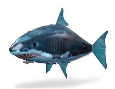 Nylon RC Helium Filled Flying-Fish Floating Shark Toy (Blue)
