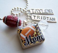 FOOTBALL MOM  Scrabble Tile Pendant and Chain Only - Charms, Beads, Name Tags Extra. $14.00, via Etsy.