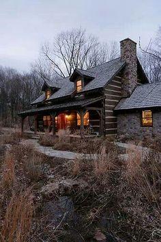 Chink & rock log cabin