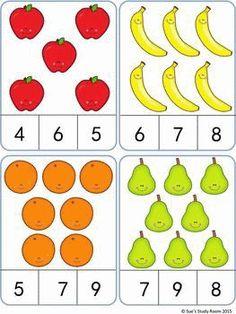 Fruit Count and Clip Cards: Numbers - Love You Pintereset Preschool Learning Activities, Preschool Activities, Kids Learning, Montessori Math, Numbers Preschool, Kindergarten Math Worksheets, Math For Kids, Kids Education, Math Centers