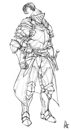art and drawings Knight Drawing, Warrior Drawing, Knight Art, Fantasy Character Design, Character Design Inspiration, Character Art, Character Concept, Character Sketches, Art Sketches