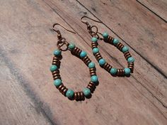 Hey, I found this really awesome Etsy listing at https://www.etsy.com/listing/523912477/earringscopper-and-turquoiseturquoise