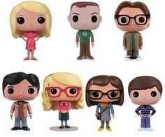 The Big Bang Theory POP dolls - From left to right - Penny, Sheldon, Leonard, Raj, Bernadette, Amy and Howard.