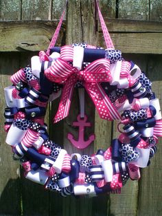 This previously sold party decoration contains 9 different patterns of navy blue, pink, and white ribbon (may slightly vary depending on