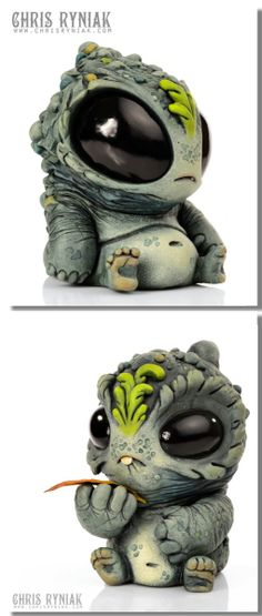 Sculptures by: Chris Ryniak cute art Clay Monsters, Little Monsters, Polymer Clay Creations, Polymer Clay Crafts, Weird Creatures, Fantasy Creatures, Clay Figurine, Biscuit, Dragons