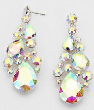 "3"" Long Silver Aurora Borealis AB Clear Austrian Crystal Pageant Earrings"