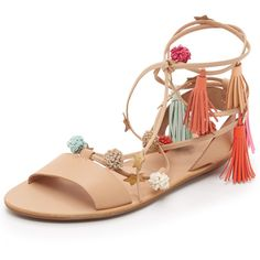 Loeffler Randall Suze Sandals ($300) ❤ liked on Polyvore featuring shoes, sandals, laced sandals, colorful shoes, tassel sandals, leather shoes and colorful sandals