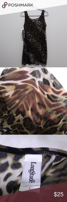 Sheer Animal Print Swimsuit Coverup Size large. Very sheer (second picture). Never worn. Bought from swimsuitsforall.com. 📷 Pictures are front/closeup/label/tags. Longitude Swim Coverups