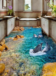 3D Peak Blue Ocean Floor WallPaper Murals Wall Print Decal 5D AJ WALLPAPER #AJWALLPAPER