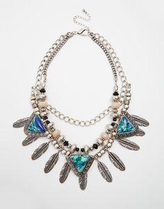 ASOS Feathered Collar Necklace with Semi Precious Stones