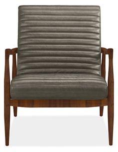 Callan Chair & Ottoman in Lagoon Leather - Chairs - Living - Room & Board