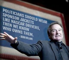 "Robin Williams on Politicians. Partisan politicers, ""Wake up""! Politics is a job. All of these lying assholes are ""fooling you"" to keep their ""elitist power."" Fake politicians, fake news, wake the fake up! Wisdom Quotes, Quotes To Live By, Me Quotes, Funny Quotes, Funny Memes, Funny Shit, Funny Stuff, Hilarious, Funny Pics"
