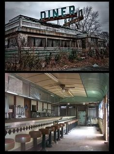 A cool abandoned cafe. This is so cool! When I win the lotto, I will open an old fashioned diner!