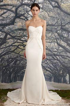 nicole miller spring 2016 bridal strapless sweetheart neckline stretch crepe de chine sheath wedding dress blythe