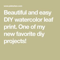Beautiful and easy DIY watercolor leaf print. One of my new favorite diy projects! Art Activities For Kids, Watercolor Leaves, Leaf Prints, Easy Diy, Diy Projects, Beautiful, Bricolage Facile, Kids Art Activities, Handmade Crafts