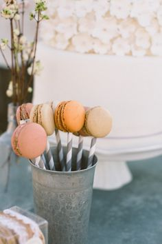 macarons on a stick!  Photography by http://www.katygray.com/, Sweets by http://www.persephonebakery.com/, Coordination by http://www.jheventsetc.com/Welcome.html