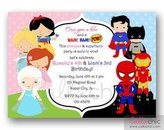 Disney Princesses and Famous Superheroes Birthday Invitation PRINTABLE - Twin / Joint / Split - Elsa Ariel Cinderella Spiderman Batman on Etsy, £8.39