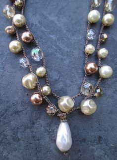 Pearl crochet long wrap necklace  Party On  neutral by slashKnots, $110.00