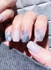 Great Classy Short Nails Art Designs Great ready to book your next manicure, because this Grey Nail Art, Gray Nails, Grey Art, Pastel Nails, Marble Nail Designs, Gel Nail Designs, Nails Design, Korean Nails, Uñas Fashion