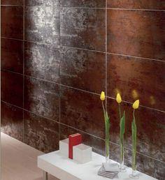 A metallic glazed porcelain tile.  By Mallol