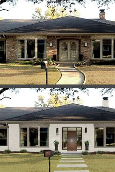 Favorite Whites for Your Home's Exterior There are a million white paints for your home's exterior; however, not all will work on every home. Exterior Paint Colors, Exterior House Colors, Exterior Design, Grey Exterior, House Paint Exterior, Home Exterior Makeover, Exterior Remodel, Before After Home, House Makeovers