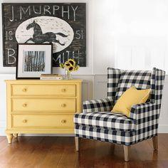 Black, white & yellow living room, black and white buffalo plaid chair, buffalo check fabric