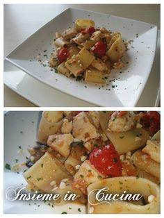 PACCHERI CON PESCE SPADA, MELANZANE, PATE' DI POMODORI SECCHI,POMODORINI E GRANELLA DI MANDORLE--- Cannoli, Cooking Time, Italian Recipes, Love Food, Potato Salad, Seafood, Food And Drink, Meat, Chicken