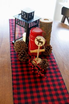 Buffalo Plaid Table Runner Christmas Table by GundysWoodShop