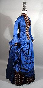 1880's Blue Silk and Gold Cut Velvet Bustle dress, image from Gallery of Past Treasures at Past Perfect Vintage Clothing