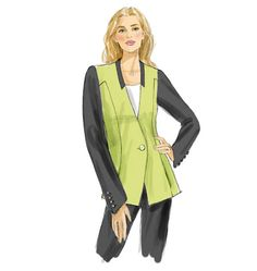 V9039 Semi-fitted lined jacket has collar, collar band, princess seams, and two-piece sleeves. B and C: side front pockets, sleeves with shaped lower edge and button vent. #voguepatterns