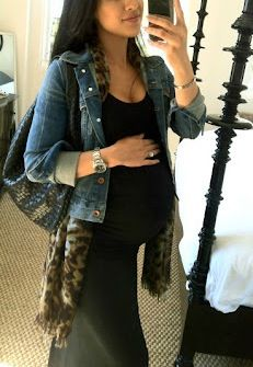 Black maxi + denim jacket + leopard scarf for late Summer