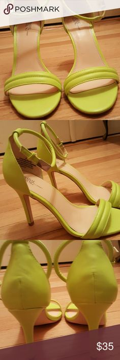 "High-heeled sandals 4"" lime-greenish yellow sandals, worn once, nib.  Need to sell as the heel is just too high.  A designer brand for Target. Prabal Gurung for Target Shoes Sandals"