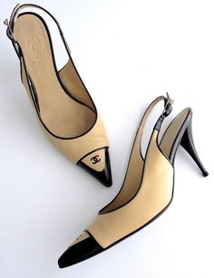 "Chanel Slingbacks ""CC"" Logo Beige- Black leather Heels and More Luxury Brands Balenciaga, Givenchy, Stilettos, Pumps Heels, Stiletto Heels, Tan Heels, Cute Shoes, Me Too Shoes, Missoni"