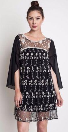 Umgee-Sheer-Baby-Doll-Dress-Embroidered-Boho-Chic-Slit-Sleeve-Shift-A1317 #Unique_Boho_Style