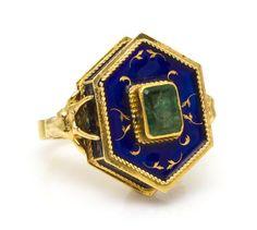 An 18 Karat Yellow Gold, Emerald and Enamel Poison Ring. Enamel Jewelry, Gems Jewelry, Metal Jewelry, Jewelry Box, Vintage Jewelry, Poison Ring, Body Adornment, Ancient Jewelry, Crown Jewels